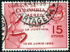 COLOMBIA, 1954, POSTA AEREA, AIRMAIL, COMMEMORATIVO, GUSTAVO ROJAS PINILLA, FRANCOBOLLO USATO, Scott C255 - Colombie