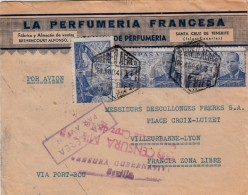 1941 LETTRE ESPAGNE PERFUMERIA FRANCESA SANTA CRUZ DE TENERIFE. VIA PORT-BOU. DOUBLE CENSURE SEVILLA + SANTA CRUZ / 7908 - 1931-Aujourd'hui: II. République - ....Juan Carlos I