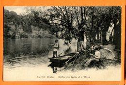GGE405, Genève, Sentier Des Saules Et Le Rhône, Barque , Pêcheur, Ombrelle, Animée, J. J. 2136, Circulée 1920 - GE Geneva