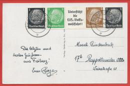 """AK """" FREIBERG I. Sa. """" - Briefmarken Hindenburg - """" UNTERSTÜTZ DIE N. S. """" VOLKS """" WOHLFAHRT """" - 1 + 3 + 5 - Lettres & Documents"""