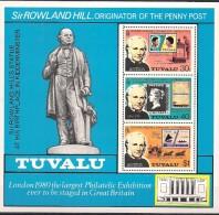 Tuvalu 1979 Sir Rowland Hill, Originator Penny Post, London 1980,  Mi  Bloc 3 MNH(**)