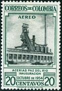 COLOMBIA, 1954, POSTA AEREA, AIRMAIL, COMMEMORATIVO, INDUSTRIA, ACCIAIERIA, FRANCOBOLLO NUOVO (MLH*), Scott C627 - Colombie
