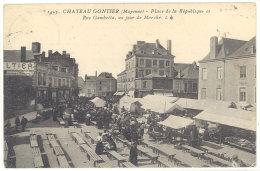 Cpa  Château Gontier - Place De La République Et Rue Gambetta Un Jour De Marché  ((S.292)) - Chateau Gontier