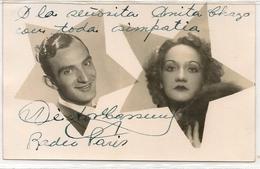RADIO PARIS - Tarjeta Autografiada - Fotografia De Estudio Fotografico JOHNNY