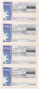 TICKET CANASTA - CANASTA PASS -  SPECIMEN NULO Tira De 4 Tickets - Origen URUGUAY - Other Collections