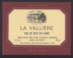 Etiquette De Vin De Pays Du Gard - La Vallière - Selected For The Sunday Express Wine Socièty -  Peter Allan Sichel (33) - Labels