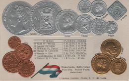 Litho Münzkarte AK Niederlande Nederland Netherlands Pays Bas Gulden Guilder Florin 1868 König Nationalflagge Coin Pièce - Munten (afbeeldingen)