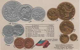 Litho Münzkarte AK United States America USA Etats Unis Amerique Dollar Cent 1853 Liberty Nationalflagge Coin Pièce - Coins (pictures)