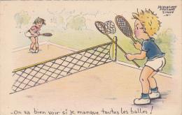 """Cpa-illustrateur Jacqueline Faizant Simon--"""" On Va Bien Voir.... """"-enfants Jouant - Tennis - Tennis"""