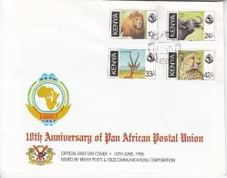 1998 Kenya  Pan African Postal Union Mammals Lion Cheetah Buffalo    Complete Set Of  4 First Day Cover  Used - Kenia (1963-...)