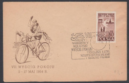 """Poland 1954, Illustrated Cover """"Peace Race 1954"""" W./postmark """"Lodz"""" - Ciclismo"""
