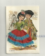 Carte Brodée Couple Andalou, Matador . Signée Isabel. 41 Andalucia - Bestickt