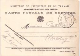 Briefkaart - Postkaart - Carte Postale De Service - Admin. Mines - Mons à Warcoing 1913 - Entiers Postaux