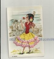 Carte Brodée Jeune Fille. Signée Isabel. 44 Malaga - Bestickt