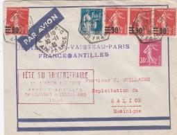 FETE DU TRICENTENAIRE 1ER LIAISON AERIENNE FRANCE ANTILLES LIEUT PARIS 30/11/35 POUR MARTINIQUE 2 SCAN     TDA148A - 1921-1960: Modern Period