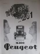 Publicité VOITURE PEUGEOT   201   Noel 1931 - Publicités