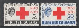 PAIRE NEUVE DE GUYANE BRITANNIQUE - CENTENAIRE DE LA CROIX-ROUGE N° Y&T 204/205 - Cruz Roja
