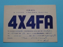 ISRAEL M. Sasson ( 4X4FA ) Ramat-Gan - CB Radio - 1959 ( Zie Foto Voor Details ) - Radio Amateur