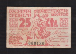 LOS NAVALMORALES (TOLEDO).25 CTS ROJO CONSEJO MUNICIPAL. - [ 3] 1936-1975 : Regency Of Franco