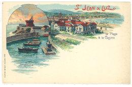 Cpa Saint Jean De Luz - Le Socca / La Plage Et Le Casino ( Pub Texte Moka & Chicorée Au Tigre, Bouchain )   ((S.344)) - Saint Jean De Luz