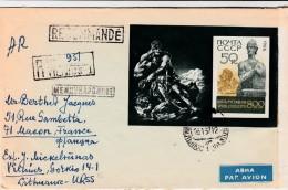 CCCP LETTRE PAR AVION. RECOMMANDE AVEC BLOC 1966 VILNIUS LITUANIE POUR MACON FRANCE  / 230 - Russland & UdSSR
