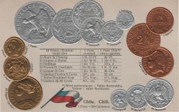 Litho Münzkarte AK Chile Chili Centavo Centavos Peso Pesos Escudo Doblon Condor 1879 Nationalflagge Coin Pièce Moneda - Chile