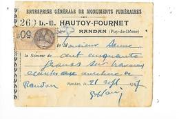 RANDAN (63)  Reçu De L.E. HAUTOY-FOURNET Monuments Funéraires 21/09/1927  -     -   L 1 - France