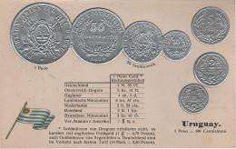 Litho Münzkarte AK Uruguay Centesimo Centesimos Peso Nationalflagge Coin Pièce Moneda America Del Sur Bandera Pabellon - Uruguay