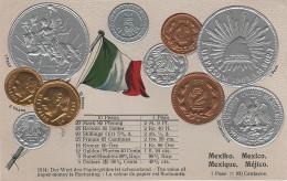 Litho Münzkarte AK Mexiko Mexico Mexique Méjico Centavos Pesos Nationalflagge Coin Pièce Moneda America Del Sur Bandera - México