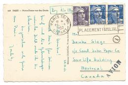 GANDON 15FRX2+5FR CARTE AVION PARIS 1952 POUR CANADA