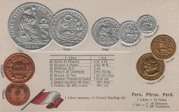 Litho Münzkarte AK Peru Pérou Perú Centavos Sol Dinero Libra Nationalflagge Coin Pièce Moneda America Del Sur Bandera - Perú