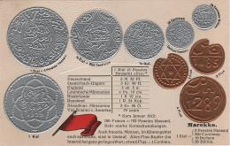 Litho Münzkarte AK Marokko Morocco Maroc Marruecos Flus Centimos Rial Pesetas Hassani Nationalflagge Coin Pièce Moneda - Marruecos