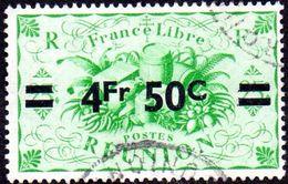 Réunion Obl. N° 258 - Détail De La Série De LONDRES Surchargé En 1945 - Productions - 4f50 Sur 25cts C Vert - Réunion (1852-1975)