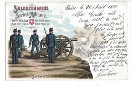 15750 - Militaria Armée Suisse Soldatengruss Artillerie Un Pour Tous Tous Pour Un Envoyée En 1899  Litho - Andere
