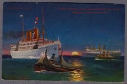 Dampfer GROSSER KURFÜRST Und KAISER WILHELM DER GROSSE 1907 Begegnen Hoher See D263 - Steamers