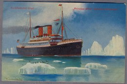 Lloyd Dampfer  PRINCESS ALICE DANS LES ICEBERG Norderney  Uber 1910y.  D268 - Steamers
