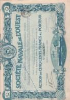 ACTION ILLUSTREE  DE 500 FRANCS - SOCIETE NAVALE DE L'OUEST  -- ANNEE 1920 - Navigation