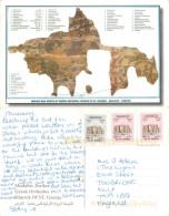 Mosaic Map,  Orthodox Church Of St George, Madaba, Jordan Postcard Posted 1996 Stamp