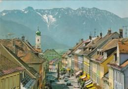 Germany Murnau am Staffelsee Obernmarkt mit Mariensaeule gegen E