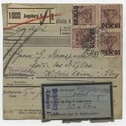 Augsburg 5   Bulletin D'expédition Paketkarte Pour Wilwisheim  Par Strasbourg 1922  Avec Dédouanement - Germany