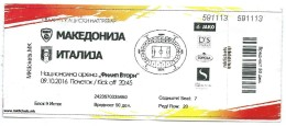 Ticket Football Mach Macedonia Vs Italy.EURO 2018 Russia - Tickets D'entrée