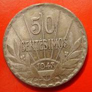 URUGUAY 50 CENTESIMOS 1943 - SILVER ARGENT - Uruguay