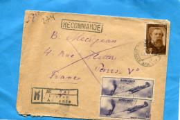 MARCOPHILIE-URSS-lettre  REC >Françe Cad1946-Erevan-3-stamps N°A80 Combat Aérien Avion Yak+engels
