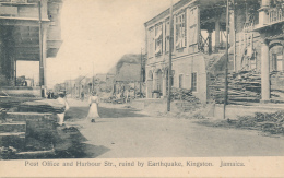 Post Office And Harbour Str., Ruind By Earthquake, Kingston. Jamaica. Circa 1907 - By H. S. Duperly, Photographer - Jamaica