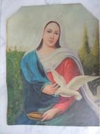 X PITTORE ITALIANO Frammento Di Olio Su Tela Vecchia Raffigurante Madonna Con Colomba Della Pace 35x45 - Olii