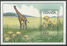 Uganda 1989 Pilze Giraffe Block 95 Postfrisch (C23460) - Uganda (1962-...)