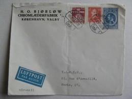 LETTRE AVION POSTEE  EN 1945 AU DANEMARK   3  TIMBRES OBLITERES - Briefe U. Dokumente