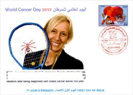ARGHELIA - 2015 - FDC - World Cancer Day Weltkrebs Tag Russia Kanker Heart Martina Navratilova Tennis