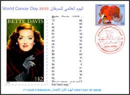 DZ - 2015 - FDC - World Cancer Day Breast Cancro Kanker Heart Bette Davis Actress Cinema Movies