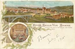 SWITZERLAND - HOTEL BELLE-VUE BERNE - SPLIT VIEW LITHO - UNDIVIDED BACK - VINTAGE ORIGINAL POSTCARD - BE Berne